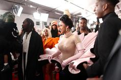 Cardi B's Skintight Grammy Awards Dress Causes Worry In Behind-The-Scenes Clip