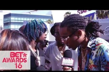 "Rae Sremmurd, Migos & G-Eazy Give DJ Khaled ""Snapchat Of The Year"" On The BET Awards Red Carpet"