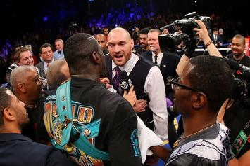"Deontay Wilder Crashes Tyson Fury's Weigh-In, Screaming: ""Bomb Squad!"""