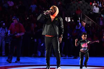 """Future Brings Out His Son To Perform """"March Madness"""" At Hawks Halftime Show"""