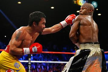 Floyd Mayweather And Manny Pacquiao Come Face To Face At Clippers Game