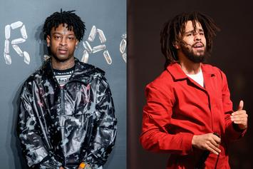 """21 Savage & J. Cole Look Dapper On The Set Of """"A Lot"""" Music Video"""