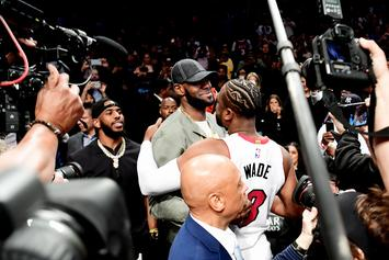 LeBron James, Chris Paul & Carmelo Anthony Cheer On D-Wade At Final Game
