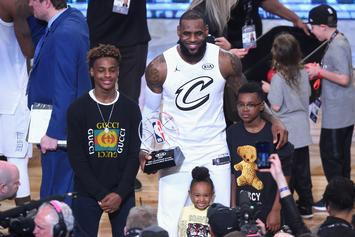 Bronny James Jr. Channels Steph Curry With Bench Three-Pointer: Watch