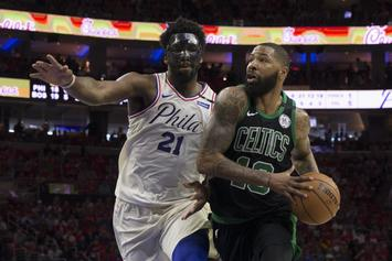 Joel Embiid & Marcus Morris Get Into Heated Shoving Match: Watch