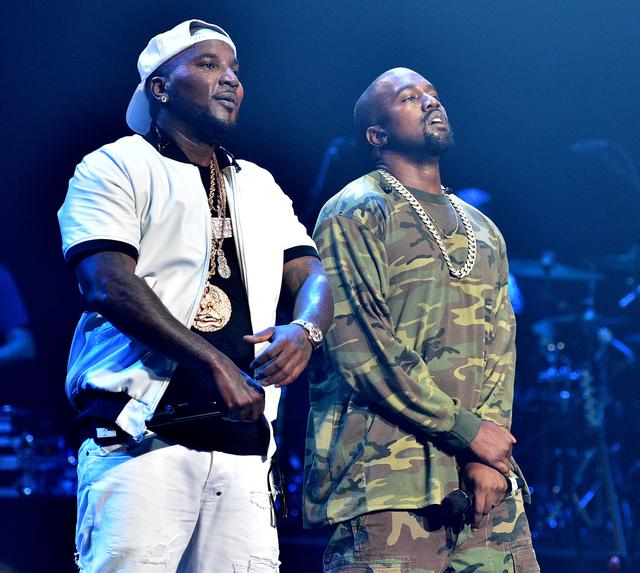 Young Jeezy and Kanye West perform at Jeezy presents TM101: 10 Year anniversary Concert at The Fox Theatre on July 25, 2015 in Atlanta, Georgia.