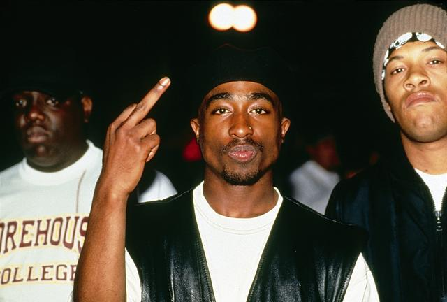 Tupac Shakur and Redman backstage at a Tupac Shakur performance at the Palladium on July 23, 1993