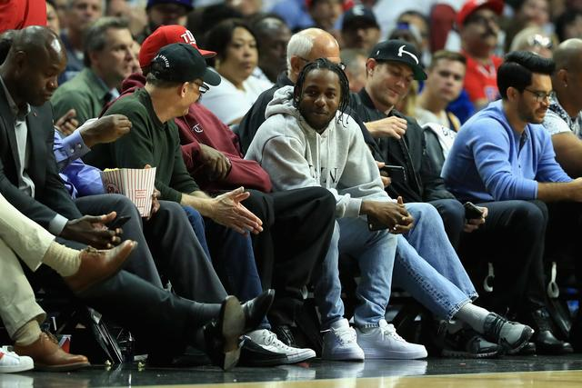 Kendrick Lamar at a basketball game