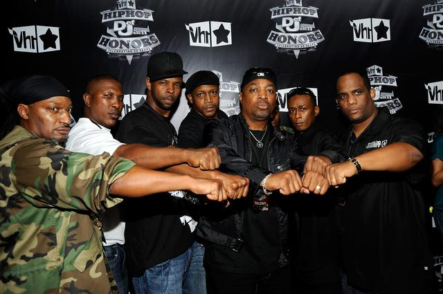 Rapper Chuck D (C) with Public Enemy attend the 2009 VH1 Hip Hop Honors at the Brooklyn Academy of Music on September 23, 2009 in the Brooklyn borough of New York City.