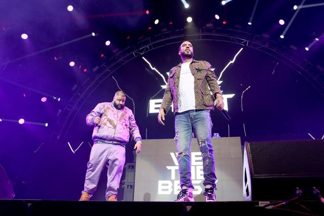 French Montana and DJ Khaled on stage at BET Experience