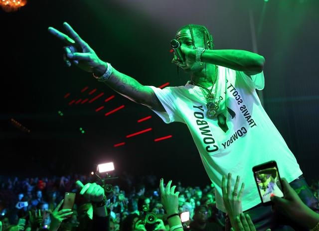 Travis Scott at Maxim Super Bowl party