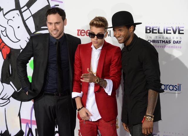Scooter Braun with Justin Bieber and Usher at Justin Bieber's Believe premiere