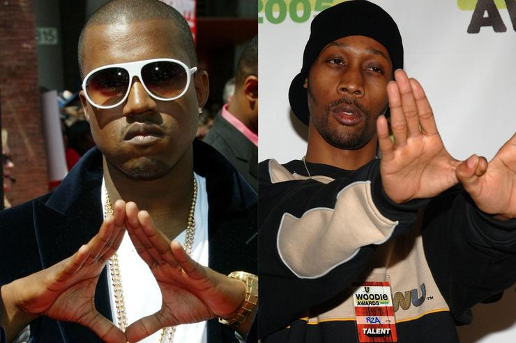 Kanye West and RZA throw up their signs