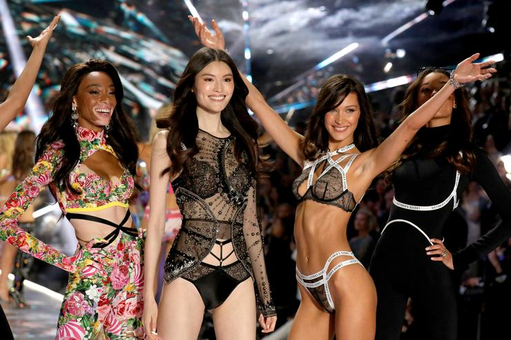 Winnie Harlow, Sui He, and Bella Hadid walk the runway in the 2018 Victoria's Secret Fashion Show at Pier 94 on November 8, 2018 in New York City